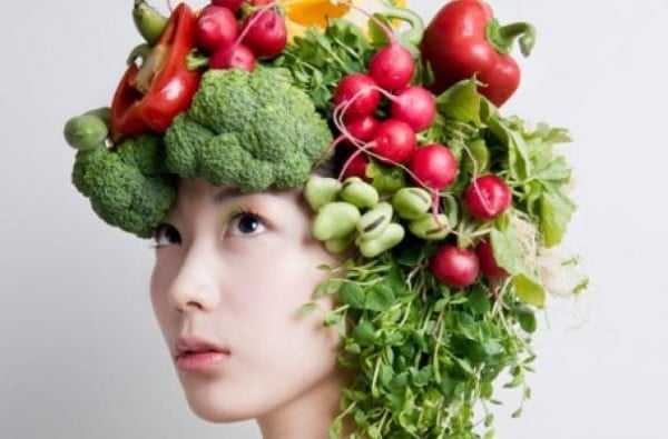 girl with vegetables for hair