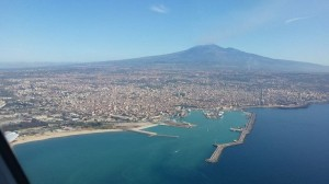 Mount Etna dominates from land and air